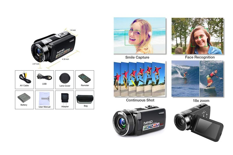 """Video Camera Camcorder Full HD Digital Camera 1080p 18X Digital Zoom Night Vision Pause Function with 3.0"""" LCD and 270 Degree Rotation Screen with Remote Controller"""