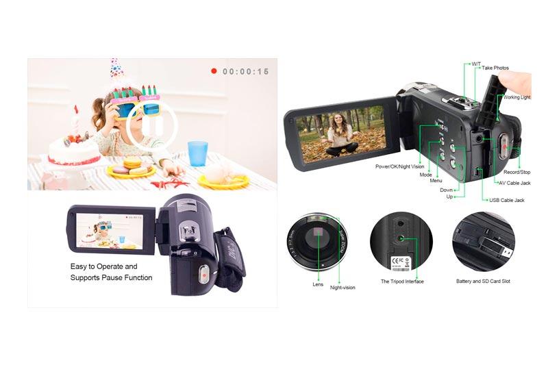 "SEREE Video Camera Camcorder Full HD 1080p Digital Camera 24.0MP 18x Digital Zoom 3.0"" LCD 270° Rotation Screen with Remote Control"