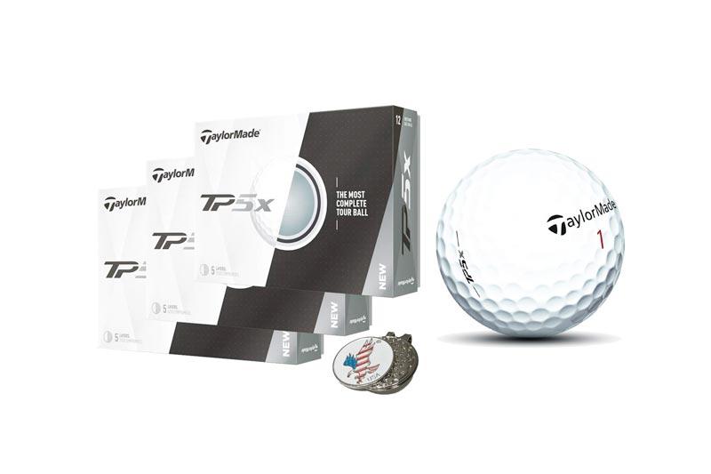 TaylorMade 3 Dozen of TP5X TP5 X White Golf Balls 2017 TP5 X + 1 Custom Ball Marker Hat Clip Set (American Eagle)