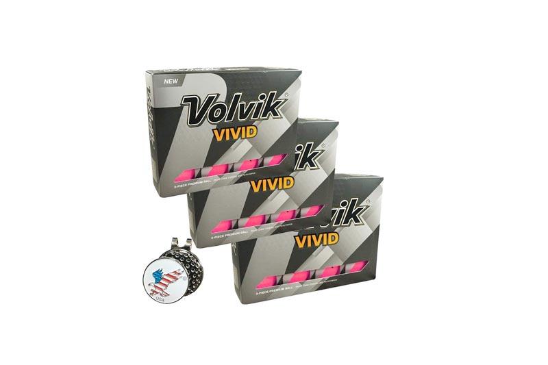 Volvik 2017 Vivid Golf Ball, Comes with 1 American Eagle Ball Marker, 3 Dozen