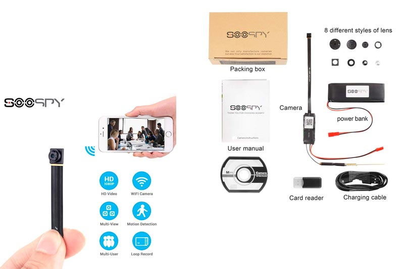 1080P Wireless WiFi Mini Camera- SOOSPY Indoor Outdoor Portable Small Security Camera /Nanny Cam with Motion Detection (IOS & Android)