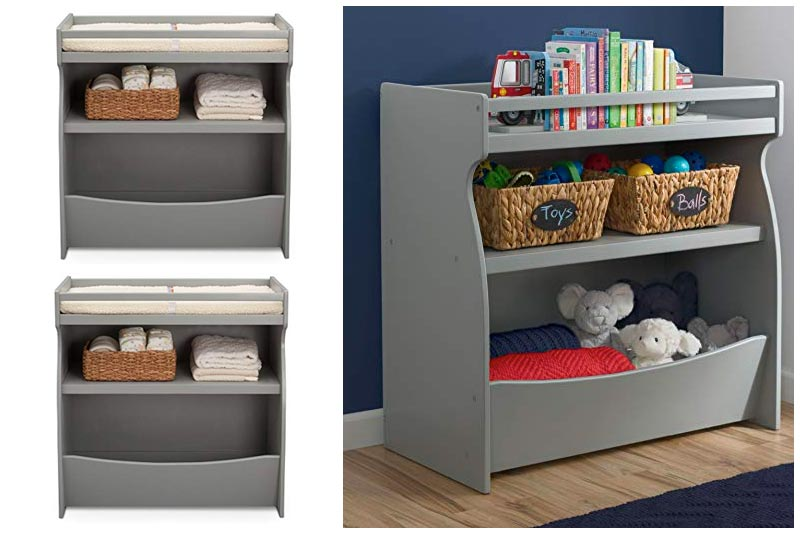 Delta Children 2-in-1 Changing Table and Storage Unit, Grey