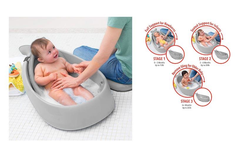Skip Hop Moby Baby Bath Tub 3 in 1 Smart Sling, Grey