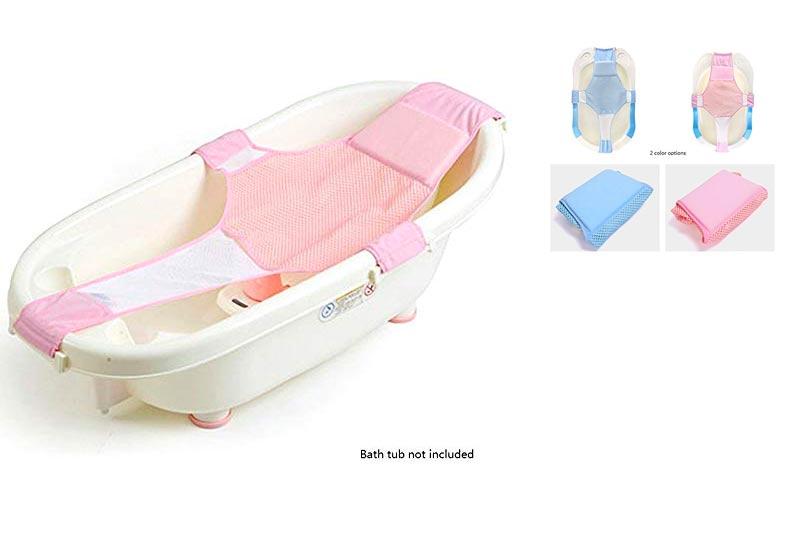 Newborn Baby Bath Seat Support Net Bathtub Sling Shower Mesh Bathing Cradle Rings for Tub (Pink)