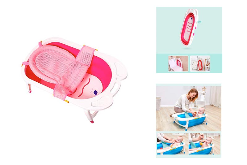 Baby Folding Bathtub, Infant Collapsible Portable Shower Basin with Non Slip Mat -by TIANTA (Color : Pink 1, Size : 82cm x 49cm x 23cm)