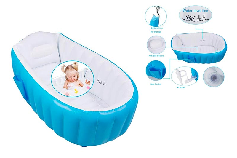 arejoy Inflatable Baby Bathtub, Portable Mini Air Swimming Pool Foldable Anti-slippery Shower Basin with Soft Cushion Central Seat for Kid/Infant/Toddler