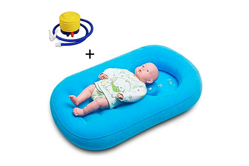 Inflatable Bathtub,Comfortable Child/Baby Inflatable Bathtub Air Bath Basin with Inflator Pump Non-Slip with Soft Cushion Foldable and Portable Suitable