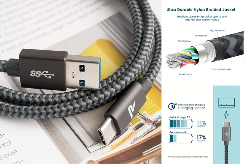 RAMPOW USB-C Braided Cable, Certified Fast Charging (3.3ft, QC 3.0, USB 3.0, Space Gray) Durable Type-C Charger Cord Compatible with Android, Samsung Galaxy Note 9/S9/S8, LG, Sony and More