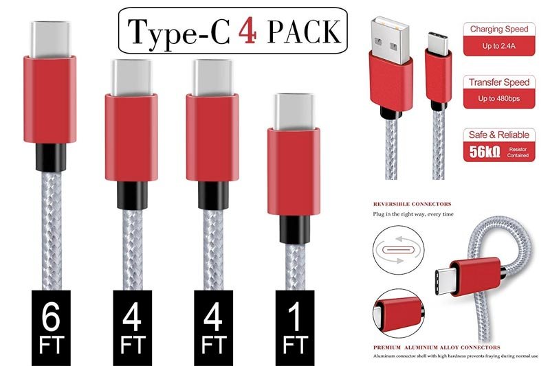 USB Type C Cable,Covery USB C Cable 4 Pack (1x1ft,2x4ft, 1x6ft) Nylon Braided USB C to USB A Charger Cord (USB 2.0) for Samsung Galaxy S9 S8 Note 8,Apple New Macbook, Nexus 6P 5X,Google Pixel,LG G5 G6
