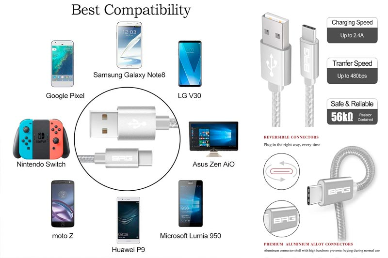 USB Type C Cable, BRG USB C Cable (USB 2.0) 3 Pack (1ft,4ft,6ft) Nylon Braided Fast Charger Cord for Samsung Galaxy S9 Note8 S8 Plus, LG G6 G5 V20, Moto Z2, Google Pixel, New MacBook and More, Silver