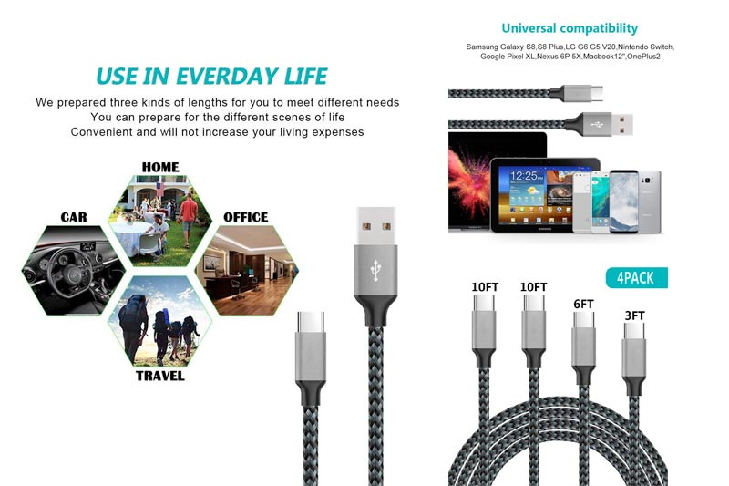Type C Cable, Bigear 4Pack 3ft 6ft 10ft 10ft Nylon Braided USB C Data & Charging Cable with Aluminum Connector for Galaxy S8/S8 Plus/Note 8,Nexus 6P/5X, LG G5, OnePlus 2 and More