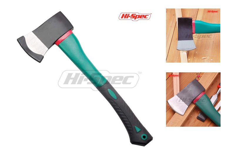 Hi-Spec 2lb Sharp-Edged Steel Axe with Non-Slip Soft Touch Ergonomic Grip Handle for Cutting, Splitting, Pruning, Chopping, and the Shaping, of Kindling, Fire-Lighters, Wood, Logs and Timber