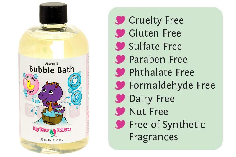 Natural Baby Bubble Bath - Dewey's Bubble Bath for Sensitive Skin - Baby Soft Scent, 12 Ounce
