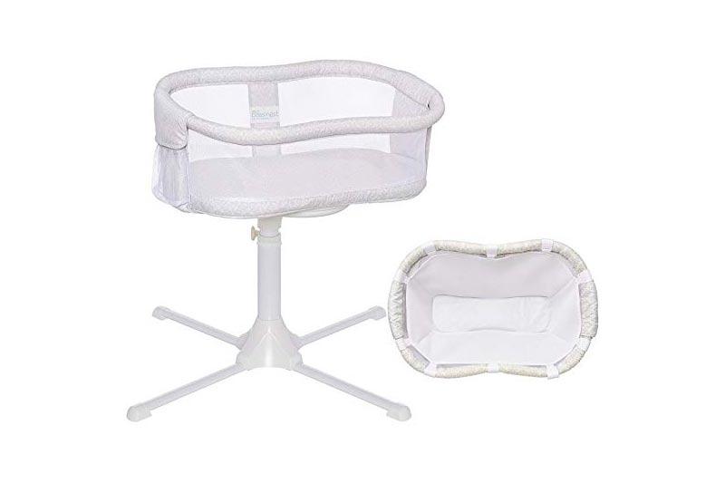 Halo - Swivel Sleeper Bassinet - Essentia Series - Modern Lattice with Newborn Cuddle Insert - White Mesh