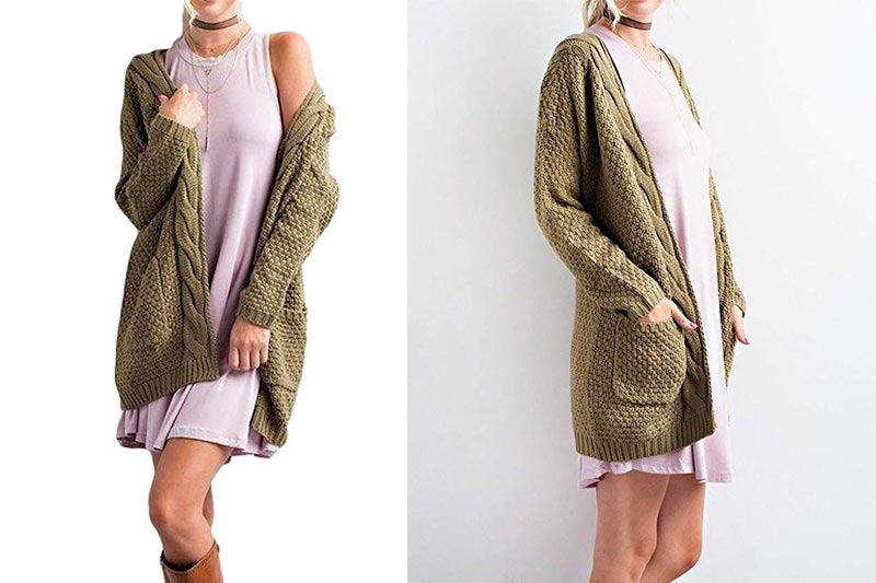 Women's Boho Long Sleeve Open Front Chunky Warm Cardigans Pointelle Pullover Sweater Blouses