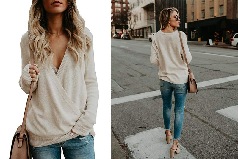 Women's Knitted Deep V-Neck Long Sleeve Wrap Front Loose Sweater Pullover Jumper