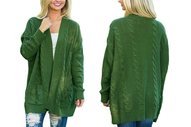 Womens Fashion Open Front Long Sleeve Cardigans Sweater Pocket