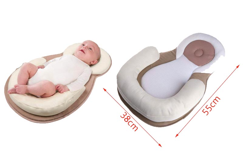 Seaskyer Portable Baby Travel Beds, Nursery Folding Baby Bed, Portable Bassinet Crib, Sleeping Pad with Nursing Pillows Infant, As A Diaper Bag for Newborns Infant Toddler Cradle (Beige)