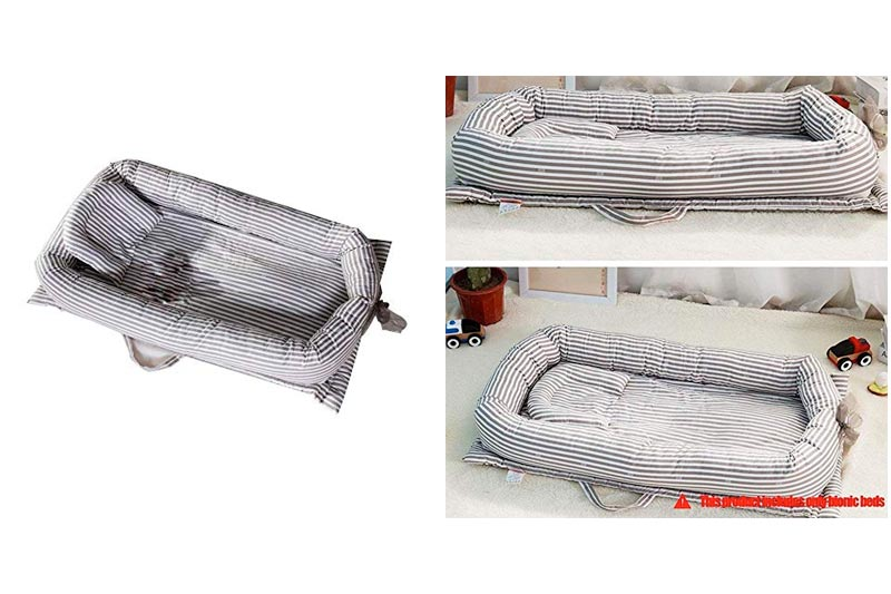 RoseSummer Baby Foldable Sleeping Cribs Cushion Portable Travel Cots Infant Nursery Bed (C)