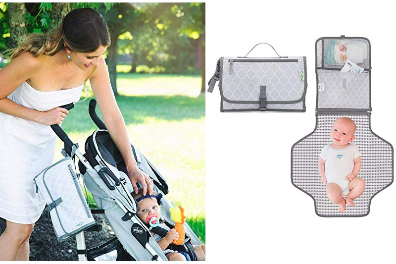 Baby Changing Pad, Portable Diaper Changing Pad, Diaper Bag Mat, Foldable Travel Changing Station   Stroller Strap, Carry Handle, Pockets For Wipes   For Infants & Newborns, Grey By Comfy Cubs
