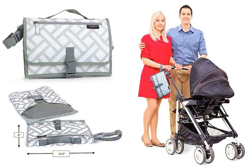 Anvy & Me Diaper Changing Clutch with Changing Pad for Baby Infants and Toddlers, Portable Changing Station Nursery Travel Accessories. (Parquet Ways)
