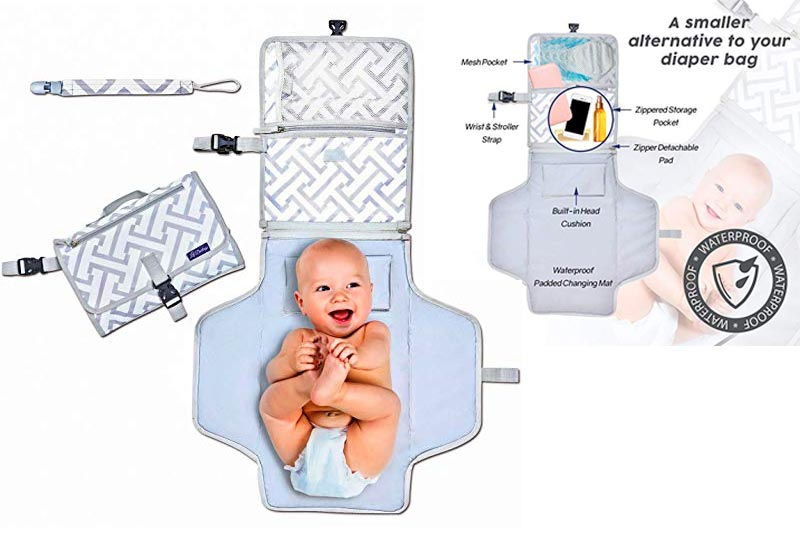 Deluxe Portable Diaper Changing Pad - Makes Any Surface a Changing Station - Stylish Clutch & Easy to Fold Mat - Great for Baby Showers - Ideal for Your Infant, Newborn or Toddler - Bonus Free Gift