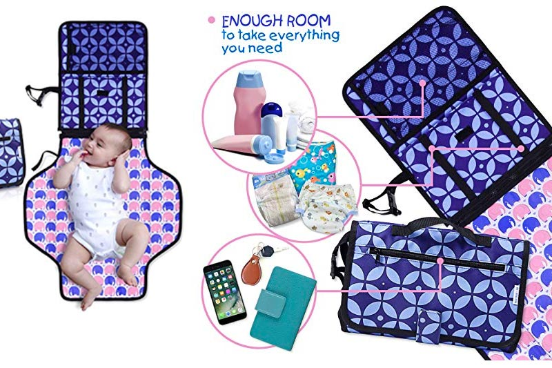 Diaper Changing Pad with Bonus Loop for Toys- Portable Diaper Changing Kit for Dads & Moms -Changing Station Organizer for Outdoor & Travel - Play Mat On The Go- Perfect Baby Shower Gift