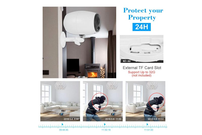 HD Wireless Battery WiFi IP Camera SD-Card PIR Function nightvision Long Standby