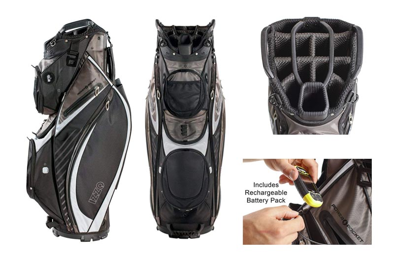 IZZO Gemini Cart Golf Bag - Black, Red, Green or Blue - Golf cart bag, golf club cart bag, magnetic ball pockets and has large beverage cooler
