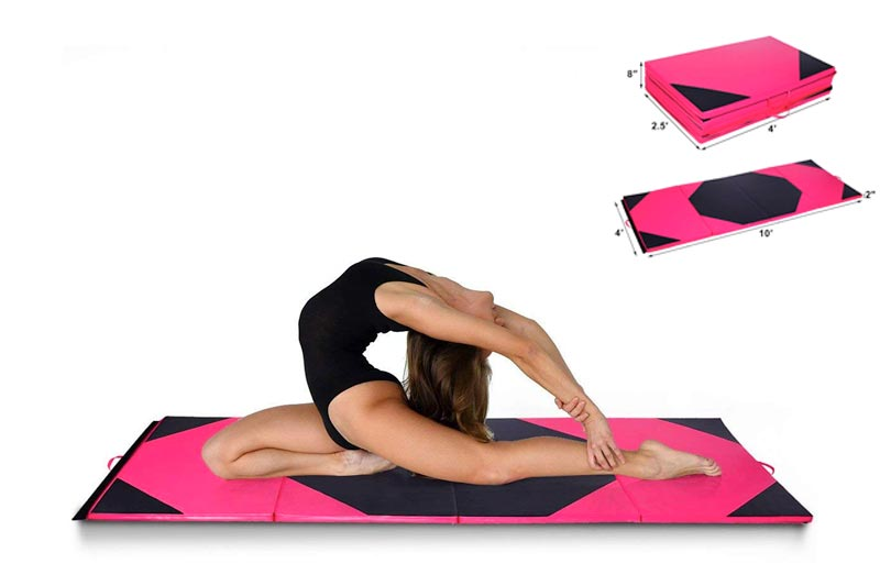 Giantex 4'x10'x2 Gymnastics Mat Thick Folding Panel For Gym Fitness with Hook & Loop Fasteners