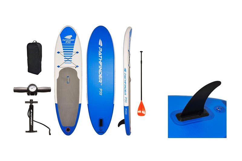 Pathfinder Inflatable SUP Stand Up Paddle Board, Complete KIT: Board, Fin, Pump, Paddle & Carry Bag
