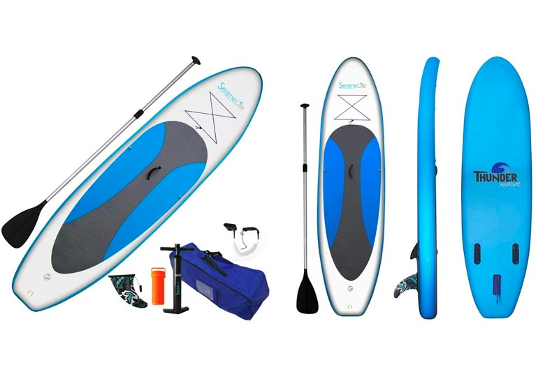 SereneLife Inflatable Stand Up Paddle Board (6 Inches Thick) Universal SUP Wide Stance w/Bottom Fin for Paddling and Surf Control | Non-Slip Deck | Youth and Adult