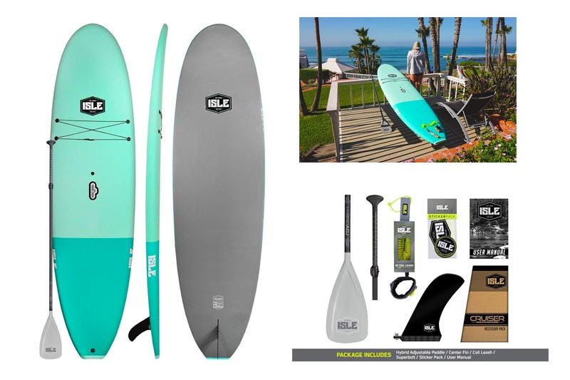 """ISLE Cruiser Soft Top Stand Up Paddle Board (4.5"""" Thick) SUP Package 