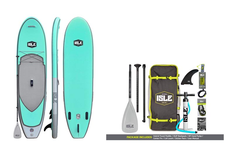 """ISLE Airtech Inflatable 10'6"""" All Around Stand Up Paddle Board (6"""" Thick) iSUP Package 