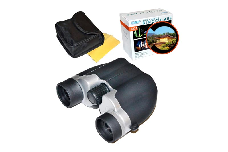 HQRP 8x21 UCF Black High-Powered Binoculars for Trips, Travel, Sightseeing, Scenery Viewing, Tourists, Campers, Nature Photographers