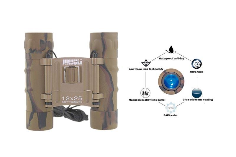 Bininbox Folding Night Vision Hd Focus 12x25 Binocular Telescope Camouflage