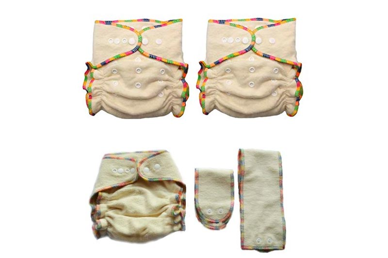 Hemp / Organic Cotton Fitted Cloth Diapers (Includes 2 Inserts; Fits 7-25lbs) (2 Pack)