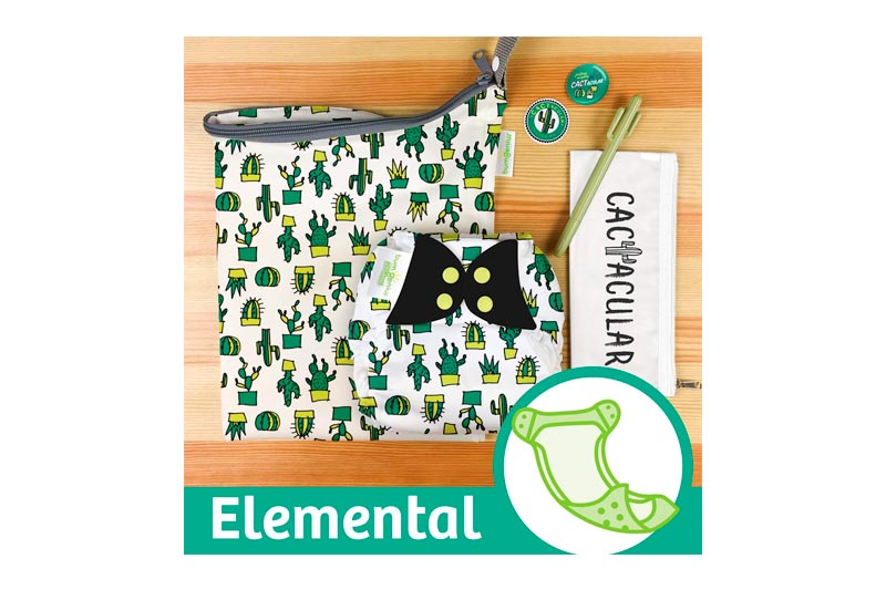 Doodles Collection: bumGenius Elemental 3.0 All-in-One One-Size Cloth Diaper with Organic Cotton (CACTacular)