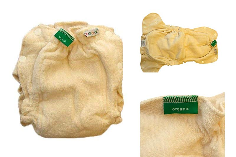 100% Organic Cotton Cloth Diaper Diapers Nappy Nappies Buttons Terry Eco (L)