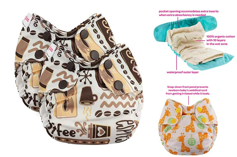 Blueberry Newborn Simplex Organic All in One Cloth Diapers, Bundle of 2, Made in USA (Coffee)